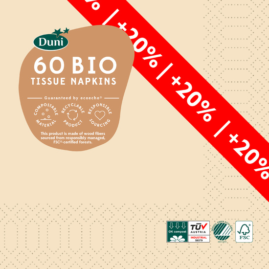 Duni Tissue Servietten cream 33 x 33 cm 60 Stück