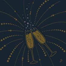 Duni Dunilin-Servietten Festive Cheers Black 40 x 40 cm 1/ 4 Falz 50 Stück