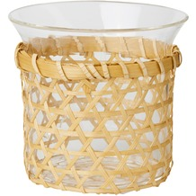 Duni Kerzengläser für Nachfüller und Teelichte Concious 90 x 100 mm aus Glas mit abnehmbarer Bambusschale