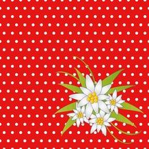 Duni Servietten 3-lagig Motiv Edelweiss Red 24 x 24 cm 20 Stück