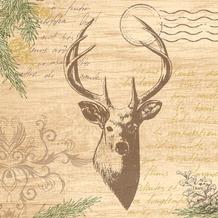 Duni Zelltuchservietten My Deer 33 x 33 cm 3-lagig 1/ 4 Falz 50 Stück