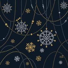 Duni Zelltuchservietten Snowflake Necklace Black 33 x 33 cm 3-lagig 1/ 4 Falz 50 Stück
