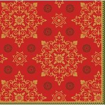 Duni Zelltuchservietten Xmas Deco Red 24 x 24 cm 3-lagig 1/ 4 Falz 50 Stück