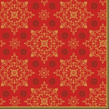 Duni Zelltuchservietten Xmas Deco Red 33 x 33 cm 3-lagig 1/ 4 Falz 50 Stück