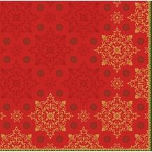 Duni Zelltuchservietten Xmas Deco Red 40 x 40 cm 3-lagig 1/ 4 Falz 250 Stück