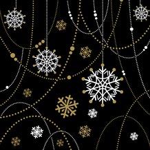 Duni Dunilin® Servietten Snow Necklace Black 40 x 40 cm 12 Stück