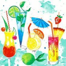 Duni Servietten Tissue Colourful drinks 24 x 24 cm 20 Stück
