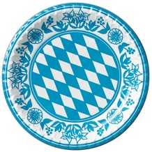 Duni Teller aus Pappe laminiert, Motiv Bayernraute, ø 22 cm, 10 Stück