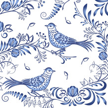 Paper+Design Servietten Tissue Porcelain bird 33 x 33 cm 20er
