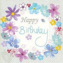 Paper+Design Servietten Tissue Birthday flowers 33 x 33 cm 20er