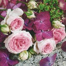 Paper+Design Servietten Tissue Hydrangea meets roses 33 x 33 cm 20er