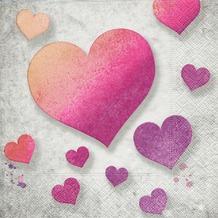 Paper+Design Servietten Tissue Pink hearts 33 x 33 cm 20er