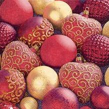 Paper+Design Tissue Servietten Shiny red baubles 33 x 33 cm 20 Stück