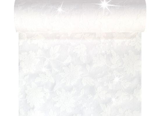 Duni Tête-à-Tête-Tischläufer mit Glanzeffekt aus Dunicel alle 120 cm perforiert, Motiv Brilliance weiß, 45 x 2400 cm
