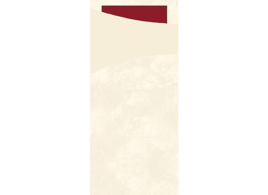 Duni Sacchetto Serviettentasche Uni champagne, 8,5 x 19 cm, Tissue Serviette 2lagig bordeaux, 100 Stück