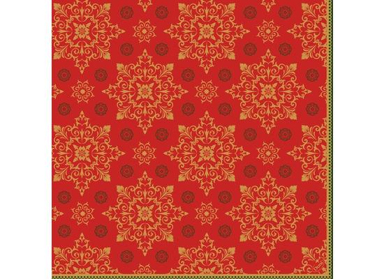 Duni Klassikservietten Xmas Deco Red 40 x 40 cm 4-lagig, geprägt 1/4 Falz 50 Stück