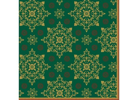 Duni Zelltuchservietten Xmas Deco Green 33 x 33 cm 3-lagig 1/4 Falz 250 Stück