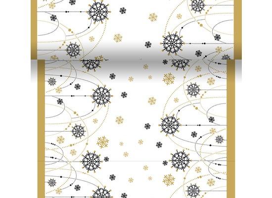 Duni Dunicel Tischläufer 3 in 1 Snow Necklace White 0,4 x 4,8 m 1 Stück