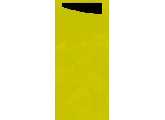 Duni Sacchetto Serviettentasche Uni kiwi, 8,5 x 19 cm, Tissue Serviette 2lagig schwarz, 100 Stück