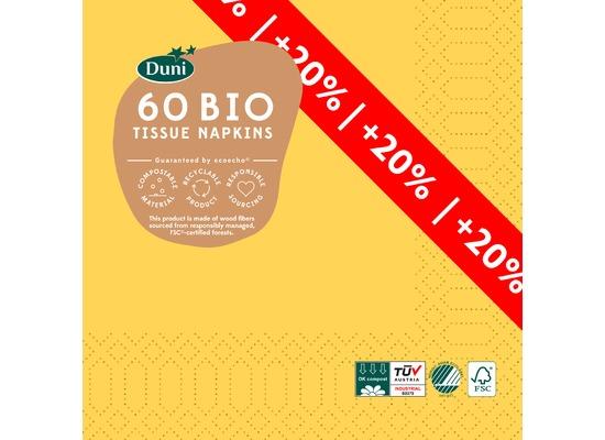 Duni Tissue Servietten gelb 33 x 33 cm 60 Stück