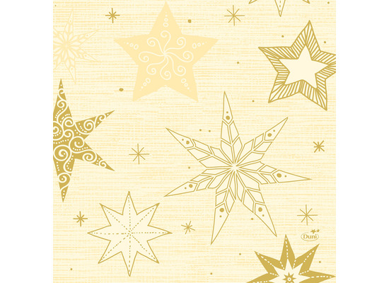 Duni Zelltuchservietten 33 x 33 cm Star Stories Cream, 50 Stück