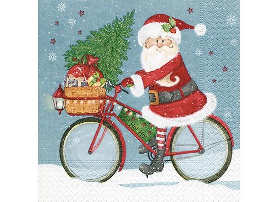 Paper+Design Tissue Servietten Santa on a bike 33 x 33 cm 20 Stück